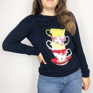TALBOTS | Navy Blue Teacup Crew Neck Sweater Large